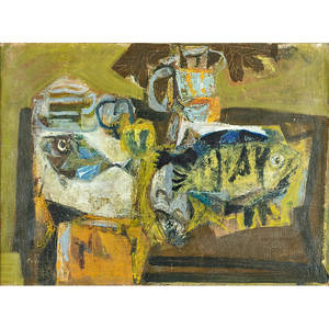 Antoni clav spanish 19132005 nature morte au poissons 1950 oil on canvas framed signed 21 x 28 12 provenance galerie galanishentshel paris label on verso private collection penn