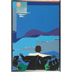 Romare bearden american 19111988 martin luther king  mountain top 1968 screenprint in colors framed from an edition of 68 29 78 x 19 12 sheet provenance private collection new jer