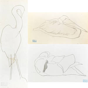 Joseph stella american 18771946 untitled birds three pencil on paper each have estate stamp 4 x 7 14 sheet 4 18 x 6 12 sheet 6 38 x 2 14 sheet provenance giovanni stell