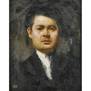 Joseph stella american 18771946 selfportrait ca 1900 oil on canvas framed signed with estate stamp 20 12 x 16 12 provenance giovanni stella md the brother of the artist mrs