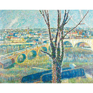 Glenn stuart pearce american 19091986 three bridges manayunk oil on canvas artist frame signed and titled 40 x 50 exhibition 52nd annual members exhibition woodmere art museum philad