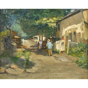 Mary smyth p taylor american 18751931 mechanic street new hope oil on canvas framed signed 15 14 x 19 14 provenance private collection massachusetts