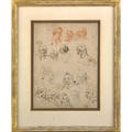 18th c italian portrait study ink graphite and conte on paper sketches of 16 expressive heads framed 8 14 x 6 14