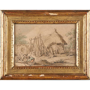 Group of old master works on paper four two engravings and two inkwatercolor on paper illustrations19th century framed largest 8 12 x 10