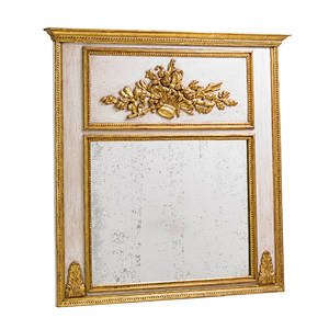 Louis xvi style parcelgilt mirror giltwood carved frame with floral bouquet on cream ground 20th c 55 x 55