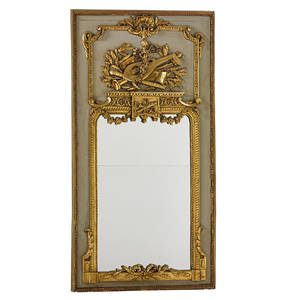 Louis xvi style mirror parcelgilt painted panels with relief decoration 19th c 39 x 51
