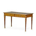 Louis xvi style writing table marquetry with leather inset top and two drawers with gilt metal pulls 30 14 x 50 34 x 25