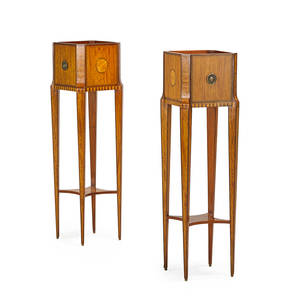 Pair of dutch neoclassical style planters satinwood and rosewood parquetry with tiered shelf and brass pulls 20th c 41 12 x 12