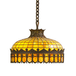 Arts and crafts leaded glass chandelier bronze mounted with colored glass paneled design early 20th c 21 x 23