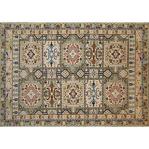 Oriental area rug all over polychrome geometric and floral design on beige ground 19th20th c 97 x 66