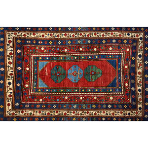 Lambo kazak area rug blue and green central medallions with geometric design on cream ground early 20th c signed 88 x 58