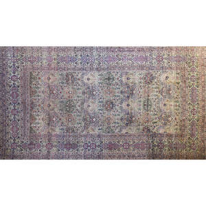 Kirman palace rug laver red pink and brown floral and medallion design on cream ground with blue accents 19th c 264 x 149