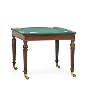 Federal style games table mahogany with felt top and recessed cup pockets early 20th c 29 34 x 36 x 36
