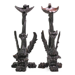 Pair of renaissance revival pedestals carved hardwood in the form of winged griffins 19th c 49 x 15 x 20