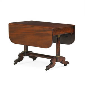 Philadelphia federal drop leaftable mahogany with double pedestal base and paw feet on casters 19th c 29 x 39 x 50