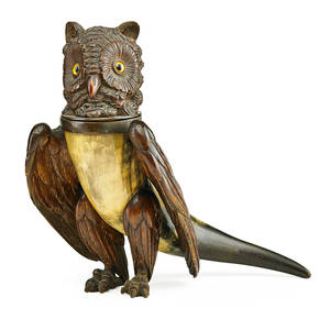Black forest woodcarved horn owl ebonized wings legs and hinged head with glass eyes in canister form late 19th c 13 x 16 12 x 3 12