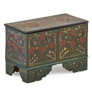 New england miniature blanket chest handpainted pine with floral decoration and interior glove box early 20th c 8 12 x 12 12 x 6 12