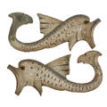 Pair of folk art woodcarvings painted figures of dolphins 19th20th c 8 x 20