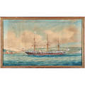 George frederick gregory australia 18211888 watercolor on paper of british threemasted sailing ship framed signed 20 x 34 12