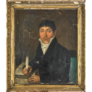 19th c american portrait oil on canvas of gentleman writing in book framed 24 x 20