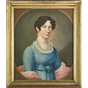 19th c portrait of anna claypoole peale oil on canvas formal portrait framed 20 x 24 note anna claypoole peale was the daughter of james peale and mary claypoole niece of charles wilson peal