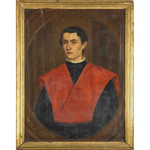 19th c portrait of young priest oil on canvas portrait of young man wearing red clerical stole framed 33 x 24