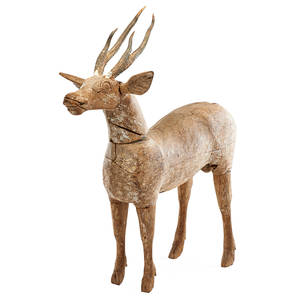 Folk art woodcarved figure naturalistically rendered stag with antlers missing tail 19th20th c 30 x 30