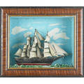 Nautical dioramas three clipper ships with painted backgrounds in shadow box frames 19th c largest 30 12 x 21