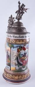 Regimental German Beer Stein w Lithophane
