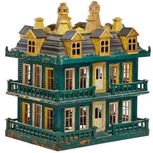 Victorian painted dollhouse handpainted wood polychrome decoration 19th c 31 x 26 x 18