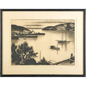 Gene kloss american 19031996 etching on paper evening at tiburon framed signed and titled 13 14 x 17 sheet