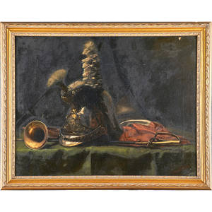 Lillian c harpel american 19th century oil on canvas still life military still lifeframed signed 27 x 34