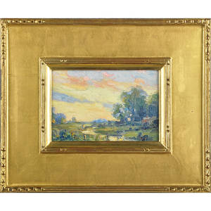 Albert van nesse greene american 18871971 oil on canvas miniature landscape framed signed 5 14 x 7 12 provenance marthe ballard phoenixville acquired from the artist