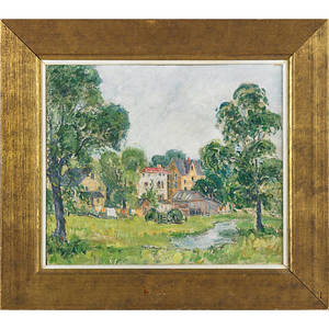 20th c new hope school impressionist landscape oil on canvas depicting a village scene framed 15 x 18