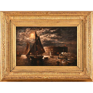 Granville perkins american 18301895 oil on canvas new york harbor scene 1889 framed signed and dated 12 x 18