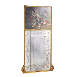 Trumeau mirror giltwood frame with floral oil on canvas panel 19th c 72x 39 12