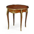 Louis xv style side table bronze mounted kingwood with marquetry inlay on cabriole leg 29 x 30 14