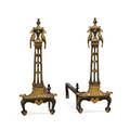 Oscar bach style parcel gilt andirons wrought iron with parakeet and foliate design early 20th c 27 x 26 x 10