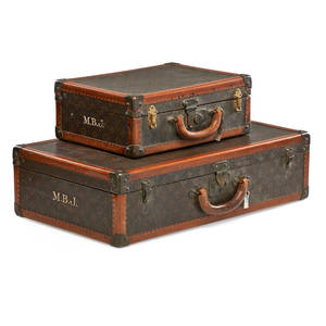 Louis vuitton hardcase luggage two one large and one hand case both with canvas interior early 20th c monogrammed mbj to each larger 6 12 x 25 12 x 15