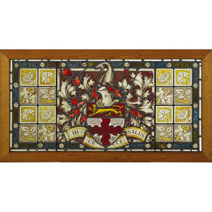 Stained and leaded glass panels two armorial design center panel flanked by floral vignettes early 20th c 25 x 46 12