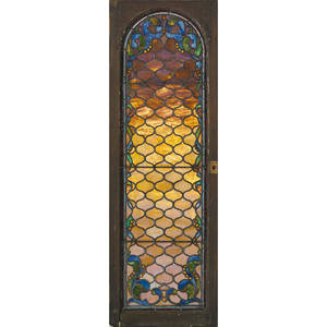 Jeweled leaded glass panel 52 12 x 17 12