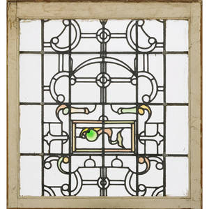 Pair of arts and crafts leaded glass panels geometric design with jeweled inserts early 20th c 30 x 28