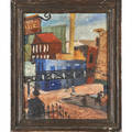 Aaron bohrod american 19071992 oil on board cityscape with figures ca 1931 framed signed 20 x 15 34