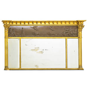 Regency mantel mirror bronzed panel with classical scene above beveled glass mirror within giltwood frame 19th c 35 12 x 62