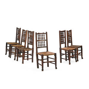 Set of english bannister back chairs six assembled set of side chairs with rush seat and turned backs 19th c 38 12 x 18 12 x 19
