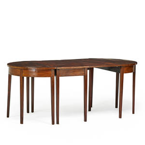 George iii three part banquet table mahogany in oval form with tapered legs 19th c 28 34 x 72 12 x 37