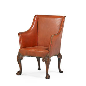 George ii style library chair mahogany carved frame with leather upholstery and cabriole leg on paw feet late 18th c 39 12 x 29 x 33