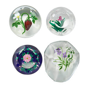 Victor trabucco art glass paperweights four three faceted cones and one strawberry dome 20th c all signed largest 2 1 x 3 12