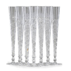 Set of german champagne flutes twelve hollow stem flutes with etched grape and vine motif 20th c 11 12