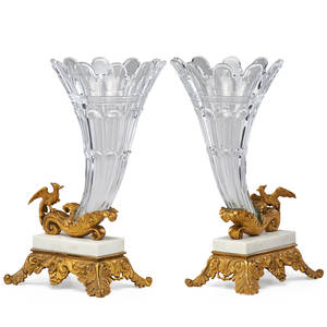 Pair of french cutglass cornucopias gilt bronze and marble mounted with figures of birds in flight late 19th c 14